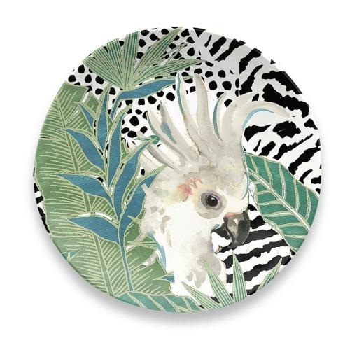 Lush Jungle - Cockatoo Melamine side plate, 21cm, Green