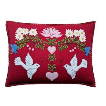 Alpine Doves Cushion, 48 x 35cm, red