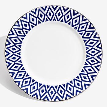 Aragon Plate, 25.4cm, midnight blue & white