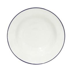 Beja Set of 6 soup/pasta plates, 21cm, white with blue rim