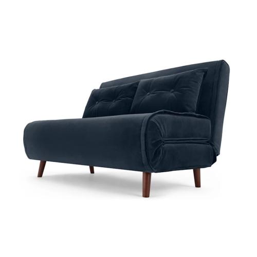 Haru Small velvet sofa bed, H78 x W120 x D86cm, Sapphire Blue