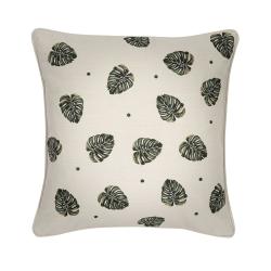 Jungle Leaf Cushion, 45 x 45cm, Natural