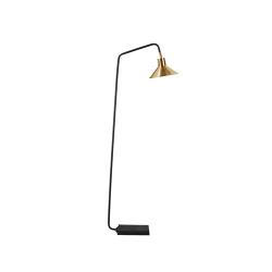 Merton Floor lamp, W60 x D26 x H160cm, Black/Brass