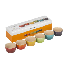 Stoneware Set of 6 mini ramekins, rainbow