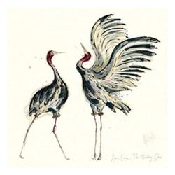 Sarus Cranes - The Wedding Dance Unmounted print, 43 x 43cm