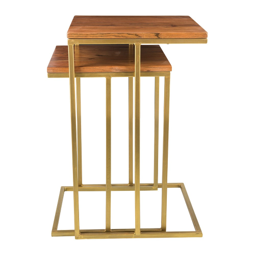 Pair of square nesting side tables, H55 x W36 x L36cm, wood