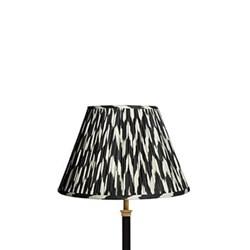 Empire Ikat printed lampshade, 30cm, black zig-zag linen