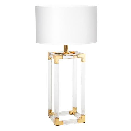Jacques Column table lamp, Dia45.72 x H74.93cm, White/Brass
