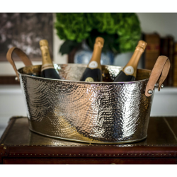 Hammered Champagne bath with leather handle, 21 x 53 x 35cm, Nickel Plate And Leather