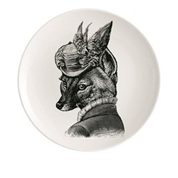 Foxy Lady Plate, Dia20cm, black/white