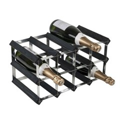 12 bottle wine rack, H24 x W43 x D23cm, black ash/galvanised steel