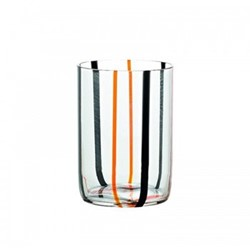 Tirache Set of 6 tumblers, 35cl, black and orange stripes