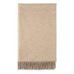 Plain Cashmere woven bed throw, 230 x 150cm, hessian