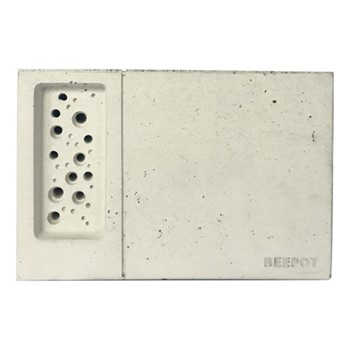 Beepot Concrete planter and bee house, 22.5 x 15 x 15.2cm, concrete