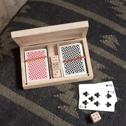 Mango Wood card & dice set, 3.5 x 18 x 11.5cm, mango wood