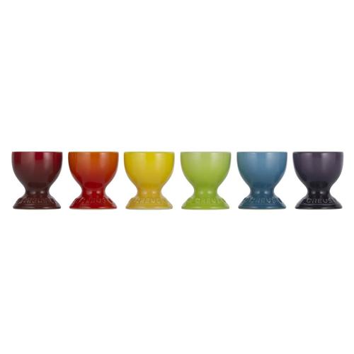 Stoneware Set of 6 egg cups, Rainbow