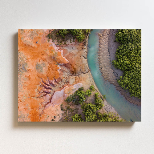 Aerial View Of River Mounted print, H51 x W69cm, Perspex