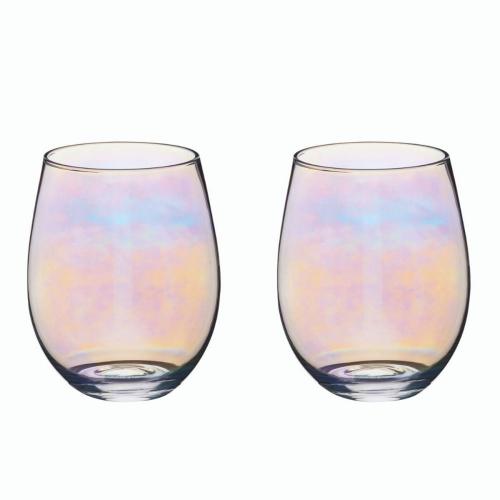 BarCraft Pair of glass tumblers, 11.7cm - 0.6 litre, Lustre