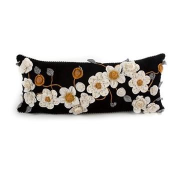 Gardenia Lumbar pillow, W38.1 x L91.44cm, black&gold&white