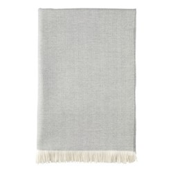 Herringbone Merino woven bed throw, 230 x 150cm, mist & white