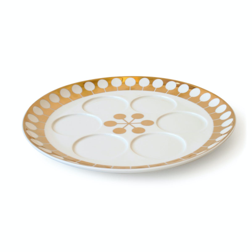 Futura Seder plate, Dia34cm, White/Gold
