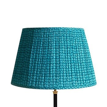Straight Empire Block printed lampshade, 45cm, blue cotton