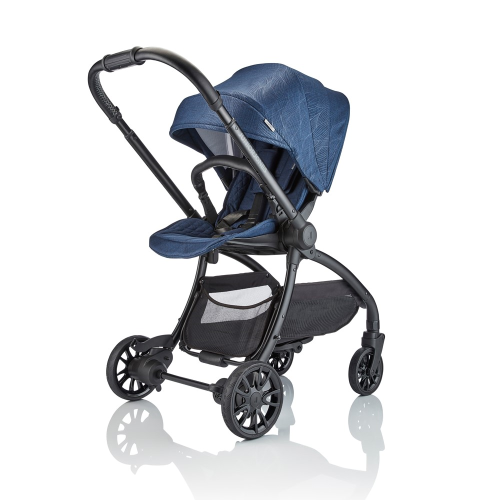 J-spirit Stroller and carrycot 2 in 1 bundle, Insignia navy, H108 x W54 x L72cm, Blue