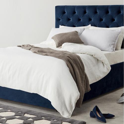 Skye Super king size bed with storage, H128 x W194 x D212cm, Royal Blue Velvet