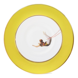 Trapeze Girl Dinner plate, 27cm, Crisp White With Yellow Border/Burnished Gold Edge