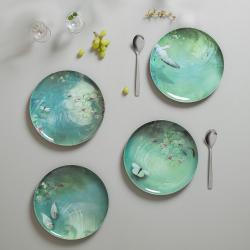Yuan Set of 4 extra stackable melamine plates, D25cm, Black