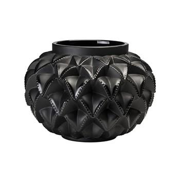 Languedoc Vase, H12 x D16.2cm, black, satin finished, crystal