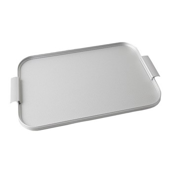 Ribbed serving tray, L46 x W30cm, diamond silver