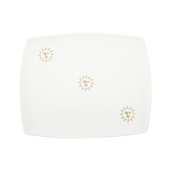 Sun Serving tray, L46 x W36cm, white and gold