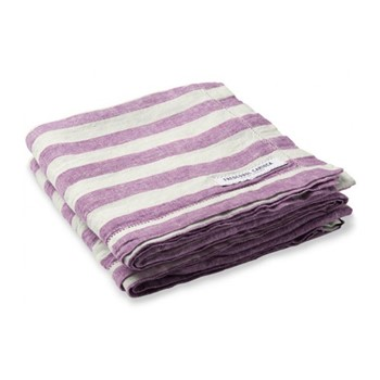 Stripe Linen beach towel, purple and white