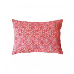 Martha Geometric Rectangular linen cushion, L50 x W30cm, neon coral