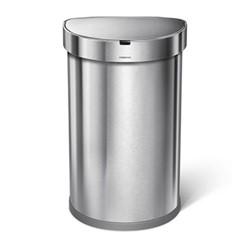 Semi round sensor bin, H64cm - 45 litre, brushed stainless steel