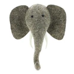 Decorative Plaques Mini wall mounted elephant head, H26 x W23 x D21cm, grey felt