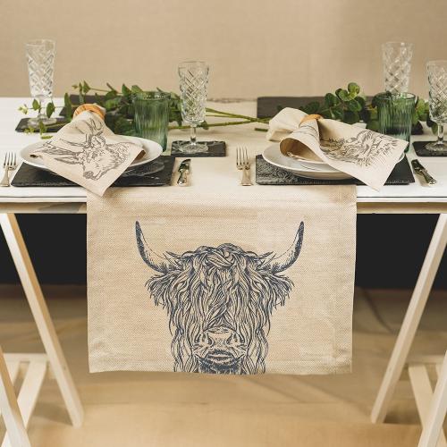 Highland Cow Table runner, 50 x 140cm