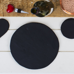 Pair of round tablemats, 23cm, Slate