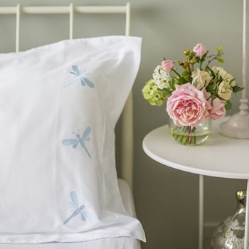 Dragonflies - 400 Thread Count Single standard pillowcase, W50 x L75cm, butterfly blue on white sateen cotton