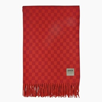 Rosehip Wool and cotton mix throw, 220 x 155cm, rosehip