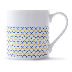 Ripple Mug, H9 x D8.5cm, yellow/blue