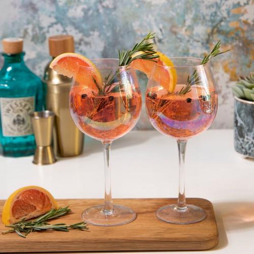 BarCraft Pair of gin glasses, 22cm - 0.5 litre, Lustre