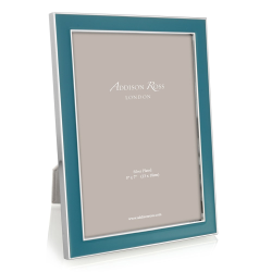 """Enamel Range Photograph frame, 4 x 6"""" with 15mm border, teal with silver plate"""