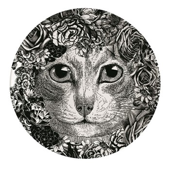 Flower Cat Plate, Dia25.5cm, black/white