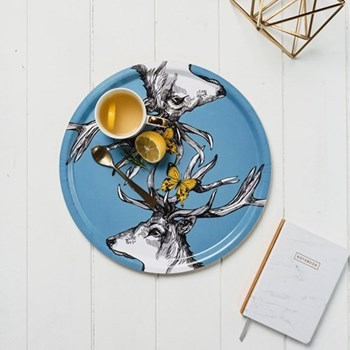 Stag with Butterflies Tray, 35cm