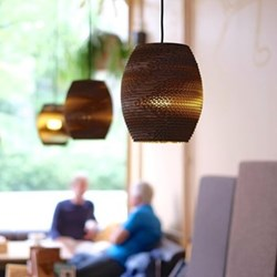 Scraplights Olive Pendant light, D19 x H22cm, recycled cardboard