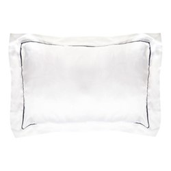 St Tropez Standard pillowcase, 50 x 75cm, white/navy
