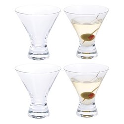 Home Bar Set of 4 martini cocktail glasses, H11cm - 16cl, clear