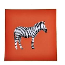 Zebra Square decoupage tray, 20cm, orange/gold edging